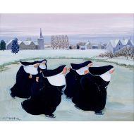859 Nuns Ice Skating by Loxton Christmas Card