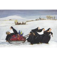 858 Nuns Pulling Sled by Loxton Christmas Card