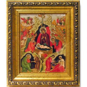 Nativity of Christ Icon With Crystals
