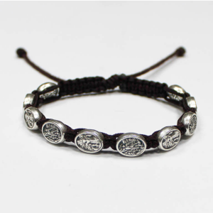 ACM217 St Michael Woven Bracelet Black