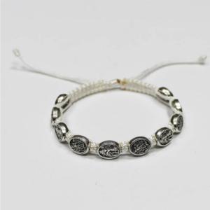 ACM216 St Michael Woven Bracelet White