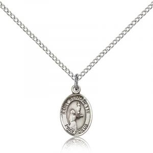 St Bernadette Sterling Medal Necklace 18''