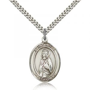 St Alice Sterling Medal Necklace 18''