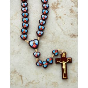 Brazilian Wood Rosary Sacred & Immaculate Hearts
