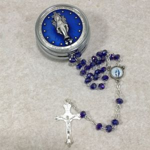 ACM67 6mm Miraculous Rosary w/Round Box from Italy