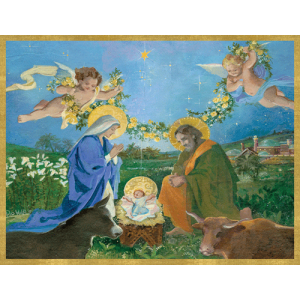 Nativity with Angels Christmas Cards