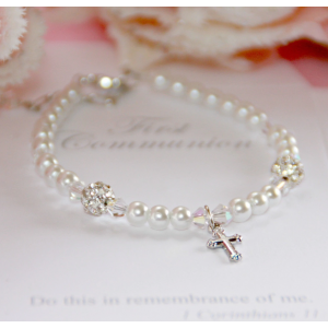First Communion Glass Pearl Bracelet with Crystals
