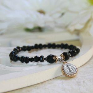 St Benedict Medal Black Jet Bracelet