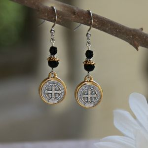 St. Benedict Medal Black Jet Earrings