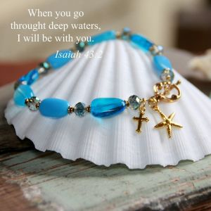 Blue Beads Bracelet with Starfish