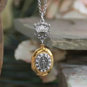 "Miraculous Locket with Pearls & Crown 28"" Necklace"