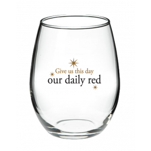 759 Our Daily Red Stemless Wine Glass