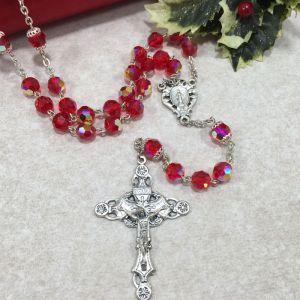 8mm Ruby Czech Glass Rosary