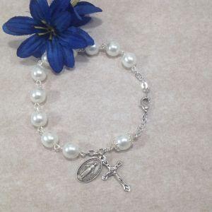 ACM47 White Pearl Rosary Bracelet