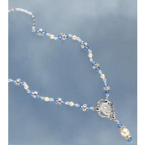 Pearl and Crystal Rondelle Rosary Necklace