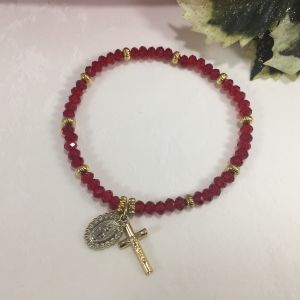 Red Crystal 4mm Rosary Bracelet