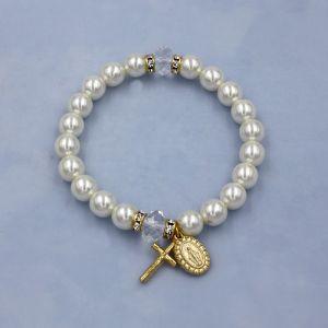 ACM172 Pearl Miraculous Rosary Bracelet Gold
