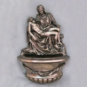 Bronze Pieta Holy Water Font 10""