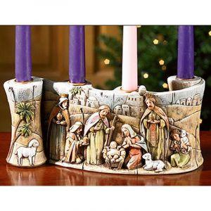 Nativity Scroll Advent Candleholder