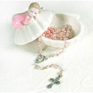 Porcelain Baby Box with Rosary (Girl)