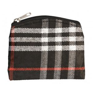 Black Plaid Rosary Pouch
