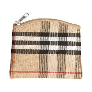 Tan Plaid Rosary Pouch