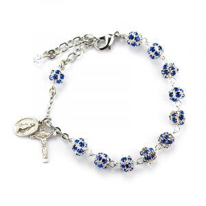 ACM50 6mm Sapphire Crystal Rosary SS Bracelet