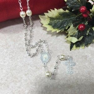 3mm Silver/Pearl Rosary Necklace - Portugal