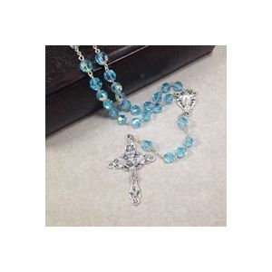 8mm Aquamarine Czech Glass Rosary