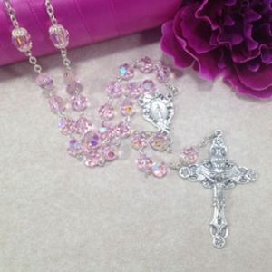 8mm Pink Czech Glass Rosary