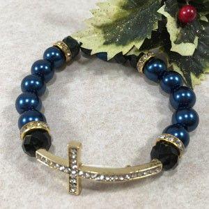 12mm Side Cross Bracelet - Blue
