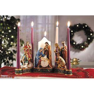 "ACM127 Nativity Advent Candleholder 13"""