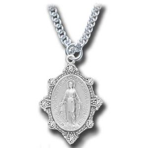 """Miraculous Medal With Crystal Silver Sterling 18"""""""