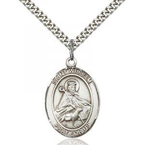 St. William Sterling Medal Necklace 24''