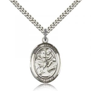 St. Anthony Sterling Medal Necklace 24''