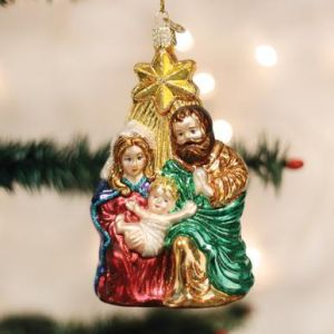 Holy Family with Star Blown Glass Ornament