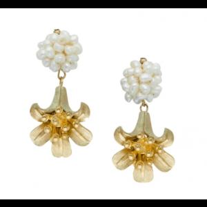 Angel's Trumpet Freshwater Pearl Cluster Earrings