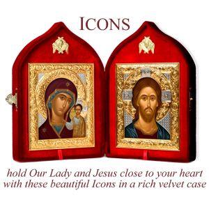 Virgin & Child and Christ Velvet Diptych