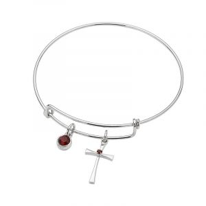 ACM79 Birthstone Cross Bangle with Charm
