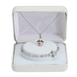 """Crystal Angel 16"""" Necklace & Stretch Bracelet"""