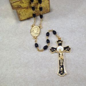 7mm Black Holy Mass Rosary