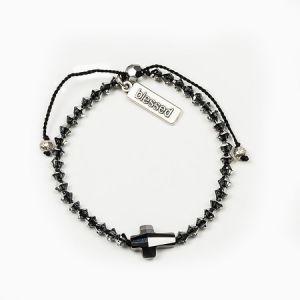 Radiant Crystal Cross Bracelet Silver Night