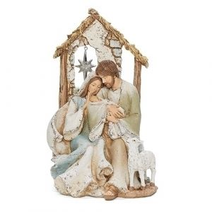 """Sweet Holy Family with Lamb Statue 9"""""""