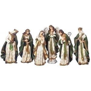 Green & Ivory Nativity Set 6pcs