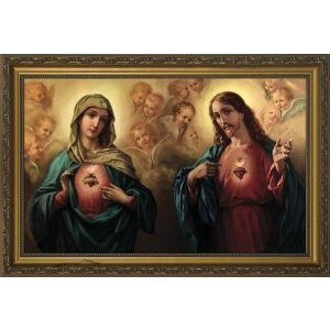 Sacred & Immaculate Hearts 10x16 Framed Art