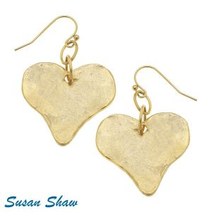 Golden Handcast Heart Earrings