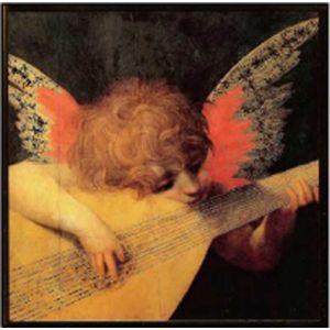 Cherub Playing Lute by Fiorentino Christmas Card