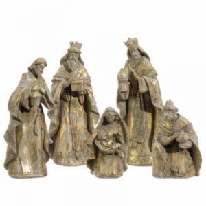 """5 piece Golden Nativity Set 10"""""""