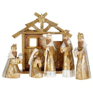 6 Piece Gold Wood Look Nativity with Creche