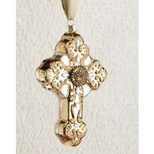 Golden Glass Cross Ornament
